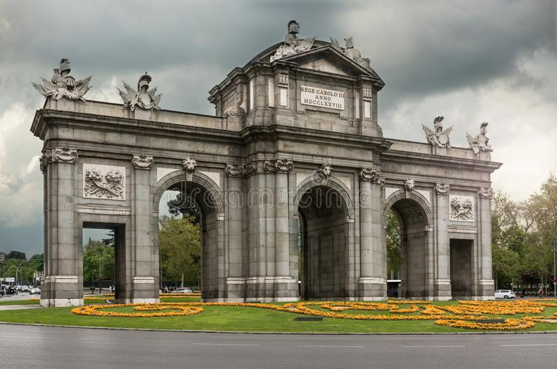 The door of Alcalá a symbol of the city of Madrid in Spain stock photo