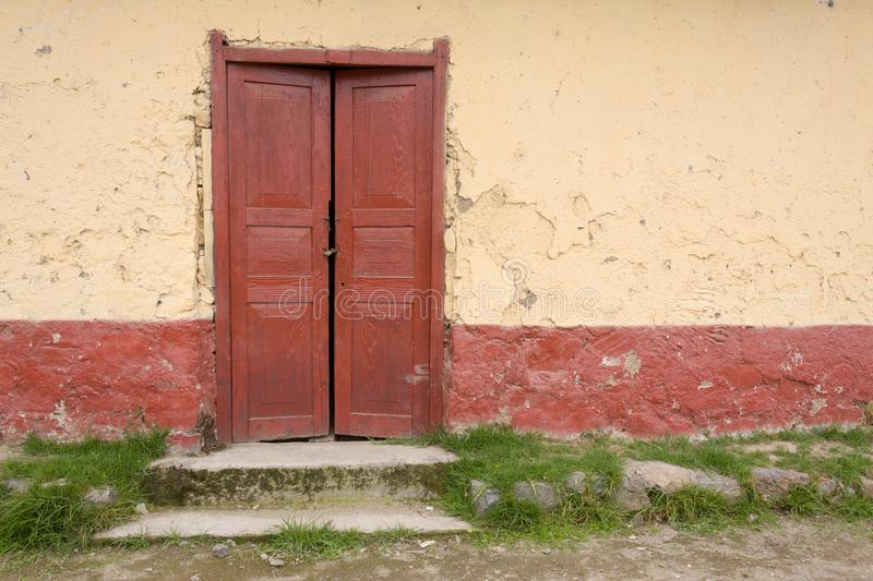 Wooden door in the Andes royalty free stock image