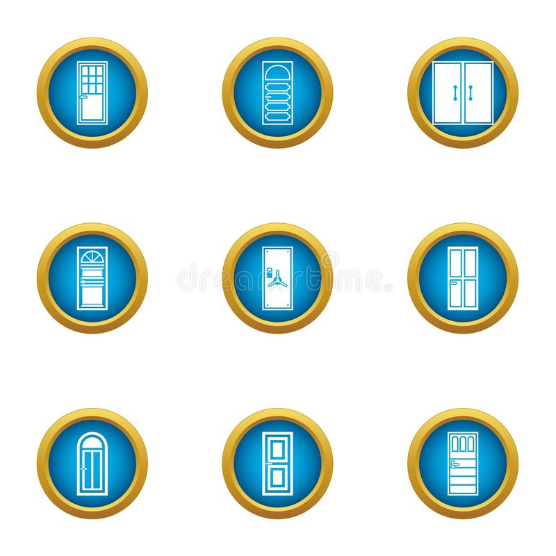 Door aperture icons set, flat style vector illustration