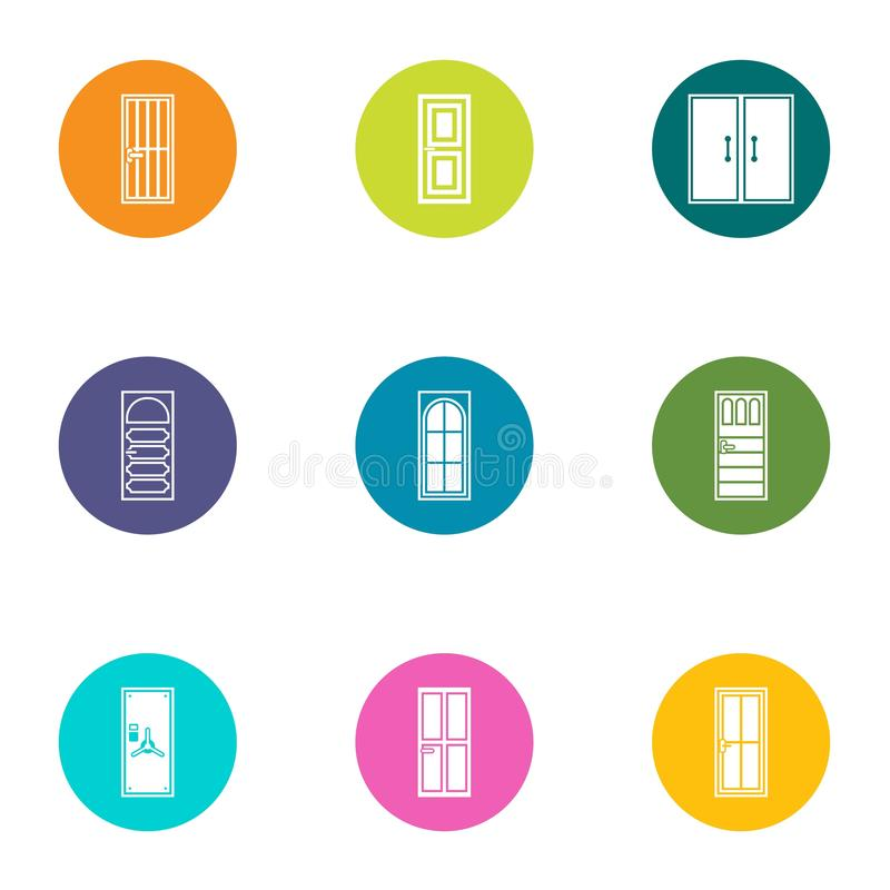 Door aperture icons set, flat style royalty free illustration