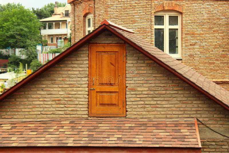 Door in the attic royalty free stock photography