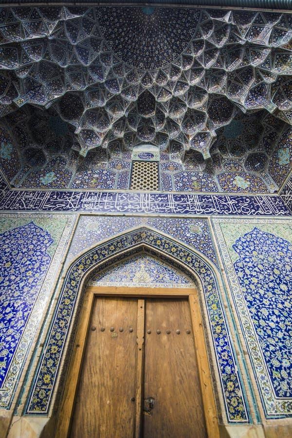 Door and beautiful pattern in mosque, esfahan, iran stock photos