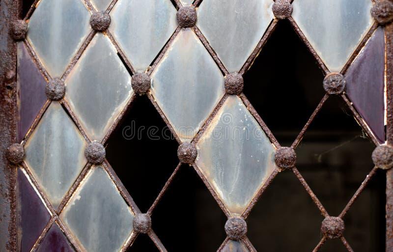 Door with broken glass royalty free stock image