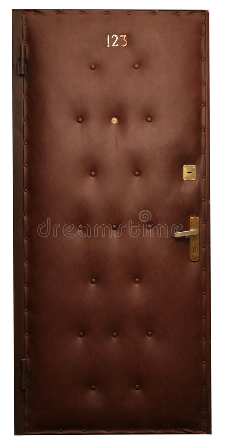Door in brown artificial skin