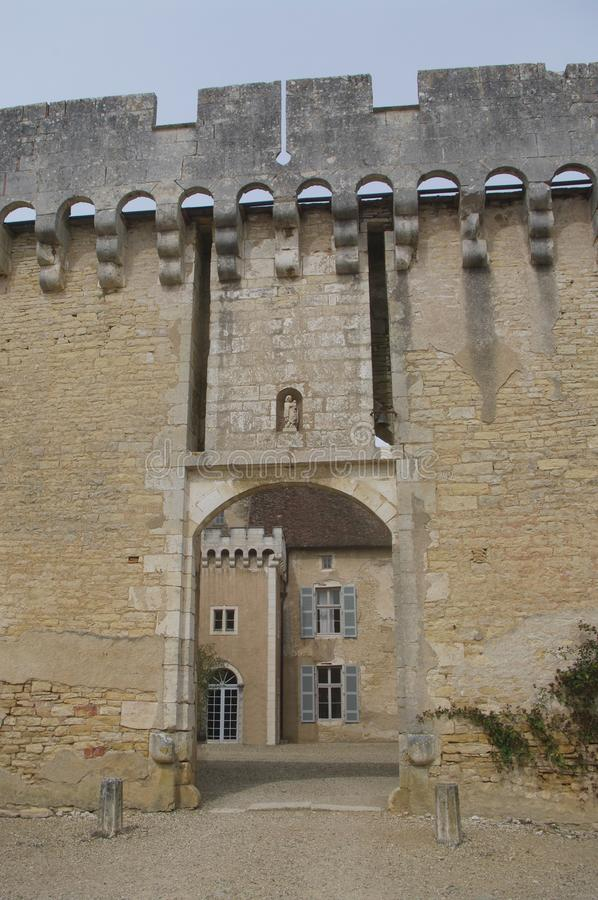 Door of the castle drawbridge Rully royalty free stock photos