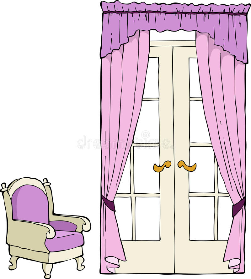 Download The door and a chair stock vector. Image of classic, cartoon - 26441385