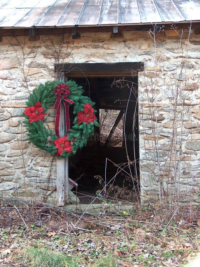 Door with Christmas Wreath stock image