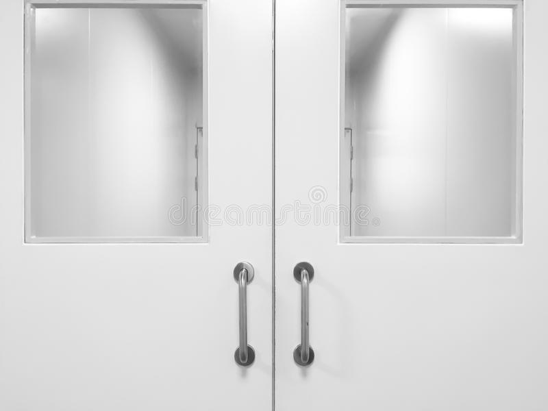 Door in cleanroom. Double door in cleanroom for pharmaceutical or electronic industry stock photo