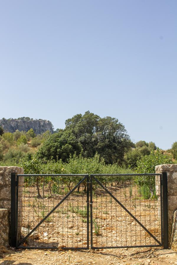 Door in the countryside in a relaxing holiday place. Holiday security thanks to the door. Barrier for animals royalty free stock image