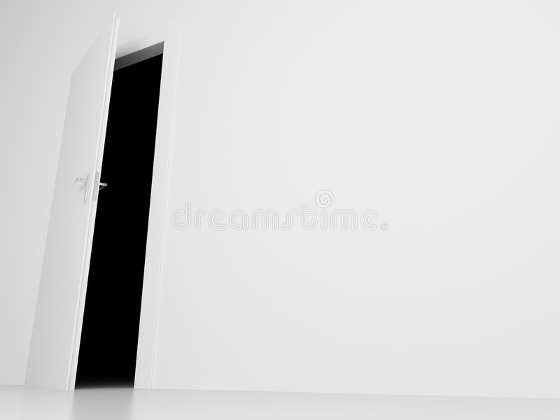 Door into darkness view royalty free illustration