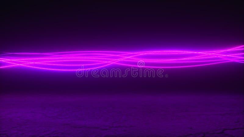 Door de computer gegenereerde golvende neonlijnen over het grijze oppervlak 3D die abstracte achtergrond, virtuele werkelijkheid  stock illustratie