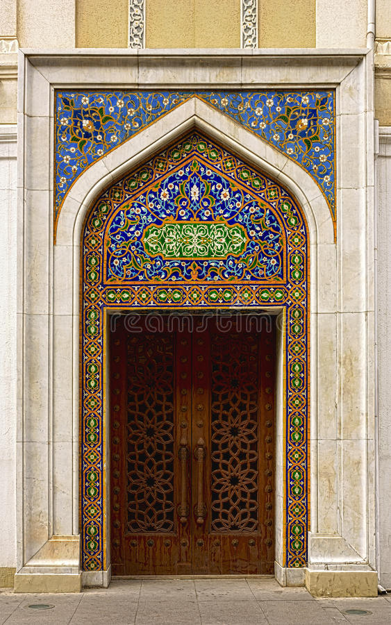 Door decorated with oriental ornament at the entrance to the Literature Museum in Baku, Azerbaijan. Republic royalty free stock image