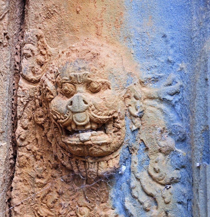 Door decoration in Bakong temple royalty free stock photography