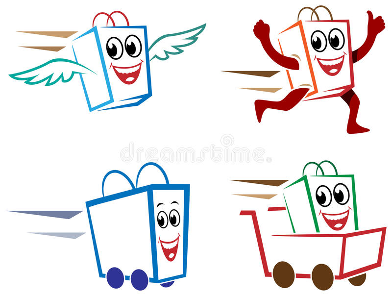 Door delivery. Line art door delivery cartoons royalty free illustration