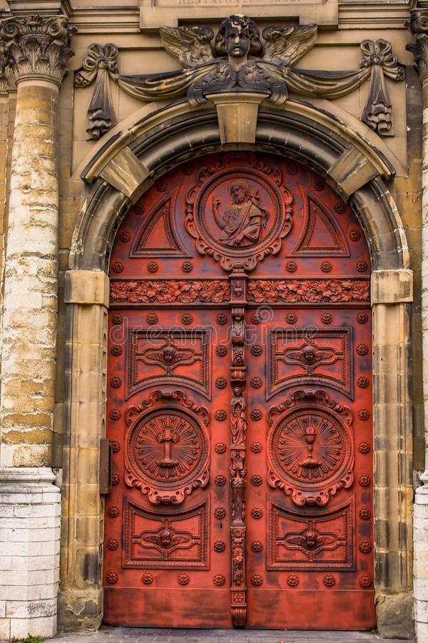 Door detail in Brussels Belgium. Old door architecture details stock photography