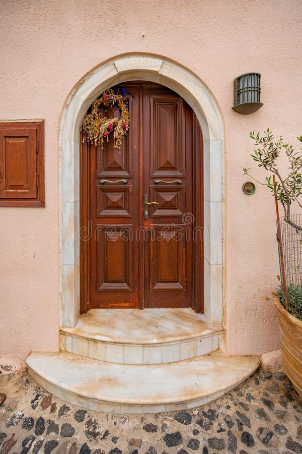 Door, Details of Santorini Island in Greece, one of the most beautiful travel destinations of the world.  royalty free stock photography