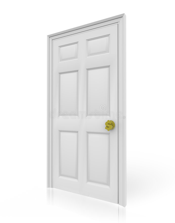 Door with Dollar Sign Doorknob. A door with a doorknob in the shape of a dollar sign, symbolizing the pathway to financial success royalty free illustration