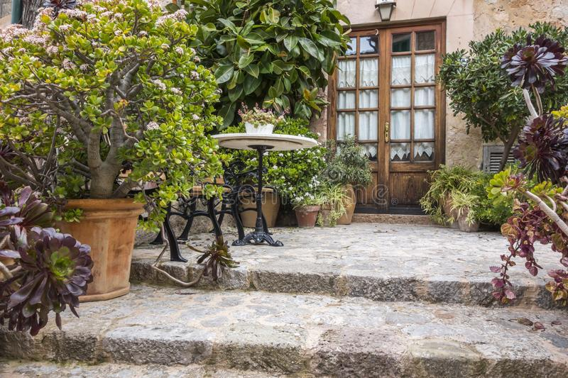 Door entrance, patio, traditional house in village of Vallmodessa, Majorca Island, Spain. royalty free stock images