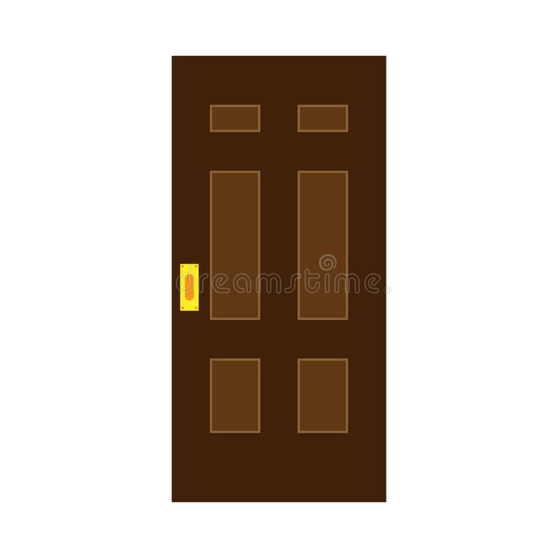 Door exterior decoration security entrance vector flat icon. House doorway royalty free stock images
