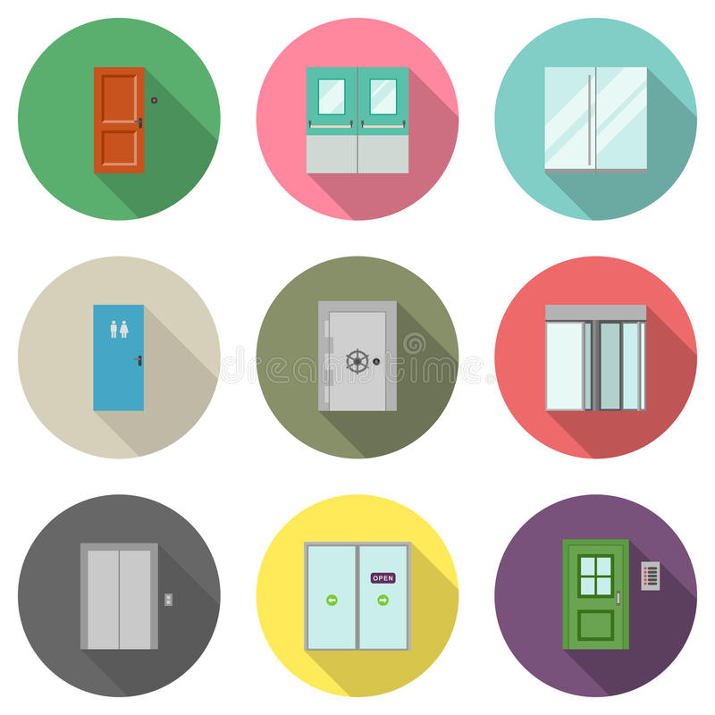 Door flat icons vector illustration