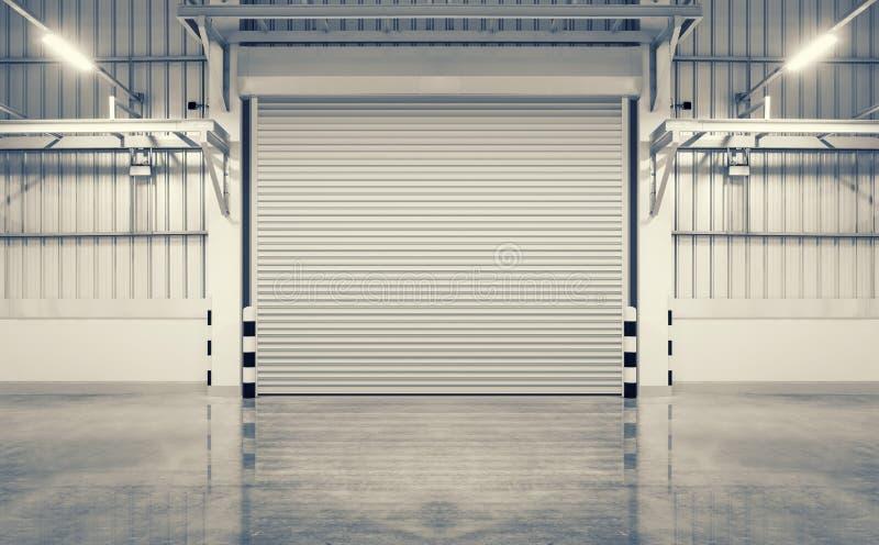 Door and floor. Shutter door and concrete floor, blue color, night scene royalty free stock photo