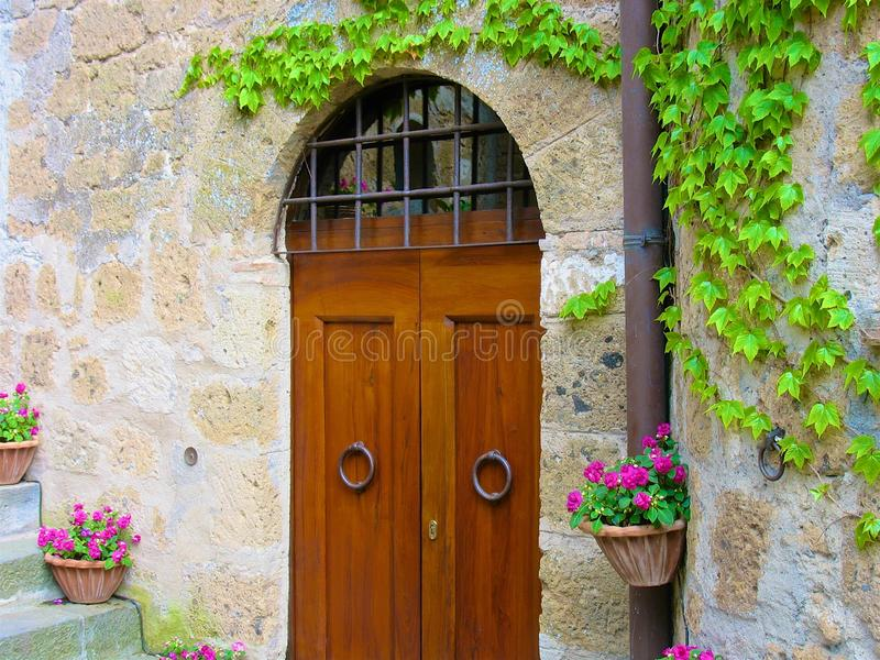 Door between flowers and ivy royalty free stock photos