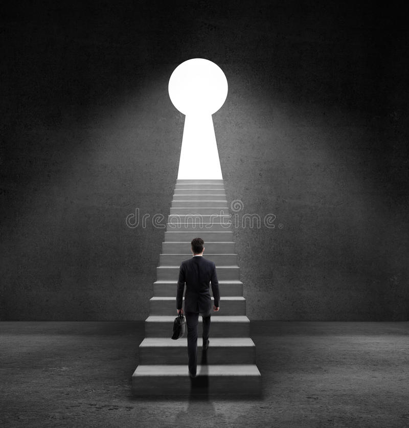Door in form keyhole royalty free stock photo
