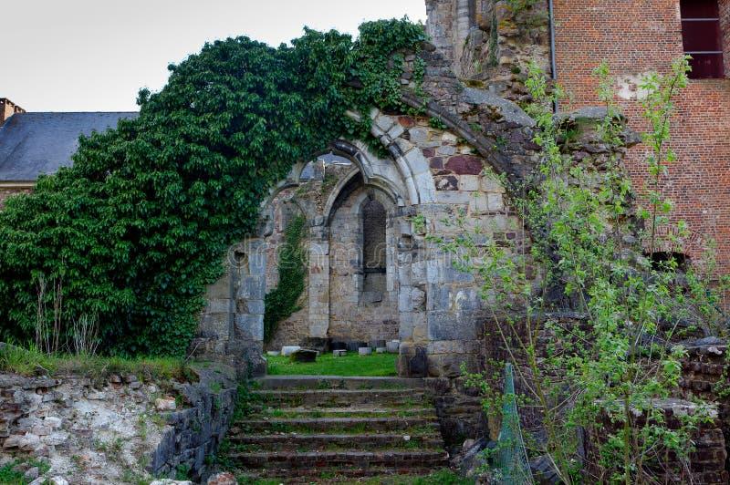 Door gate Ruins Abbey Aulne Thuin Landelies, Belgium stock photos