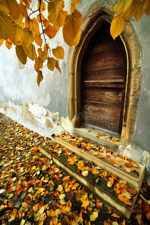 Door, at a gothic church in Transylvania stock image