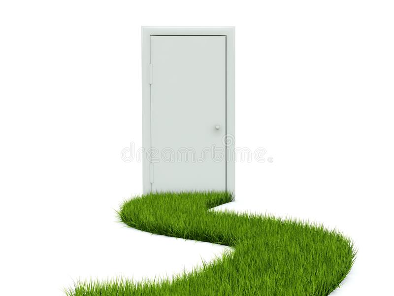 Download Door with grass path stock illustration. Illustration of close - 13354559