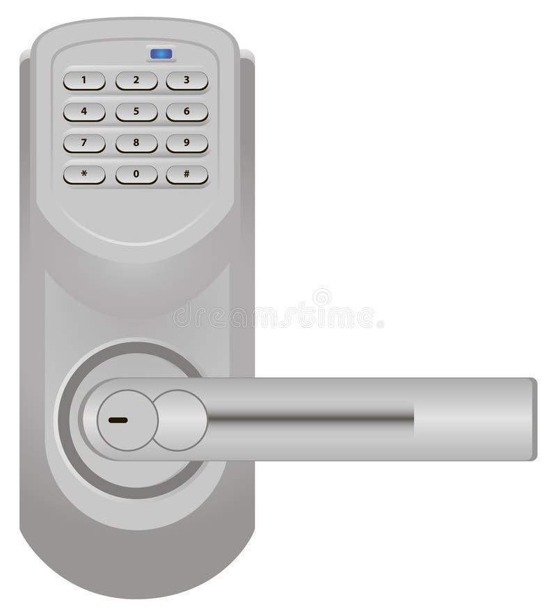 Door handle with combination lock royalty free illustration
