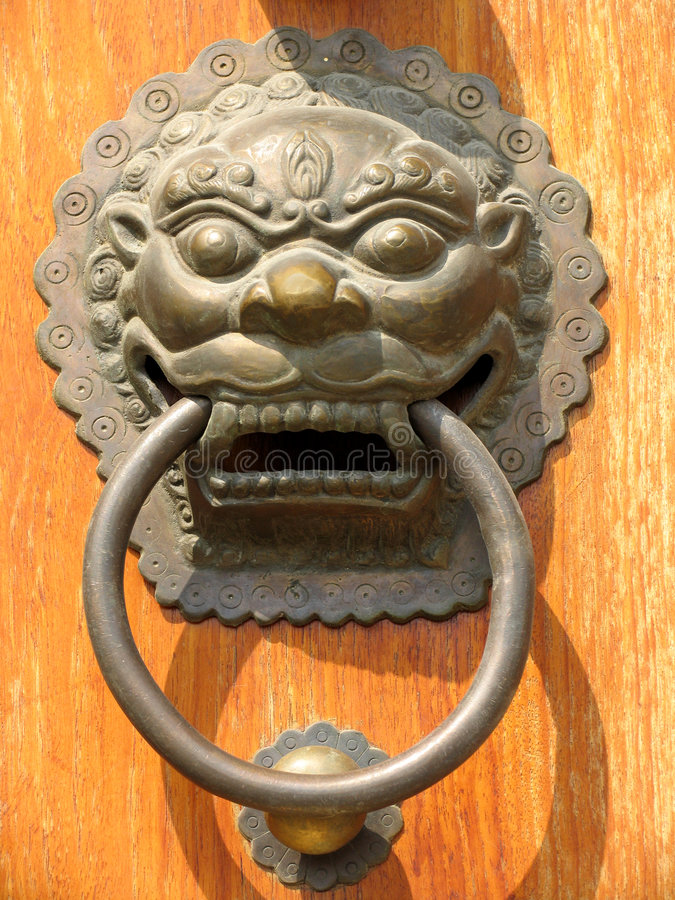 Door Handle at Jing An Temple stock photography