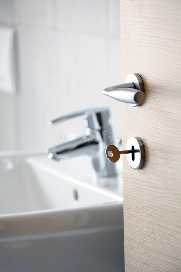 Door with handle view bathroom stock images