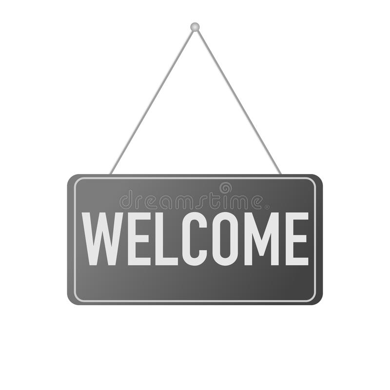 Door hanging sign welcome on white background stock illustration