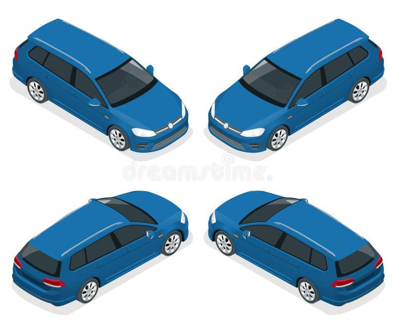 5-door Hatchback samochód odizolowywający Wektorowe isometric ikony ustawiać Szablon na białym tle Zdolność łatwo zmieniać royalty ilustracja