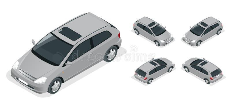 3-door Hatchback samochód Wektorowe isometric ikony ustawiać ilustracja wektor
