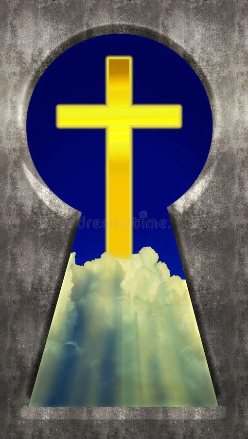Door het Sleutelgat - Christian Cross in Wolken stock foto's