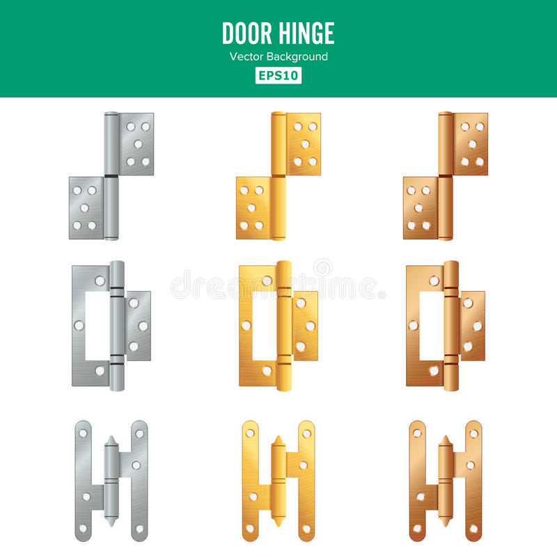 Door Hinge Vector. Set Classic And Industrial Ironmongery Isolated On White Background. Simple Entry Door Metal Hinge. Icon. Stainless Steel, Copper, Bronze royalty free illustration