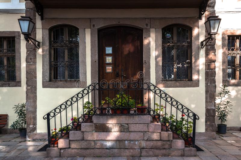 Door of and house in Plovdiv royalty free stock image