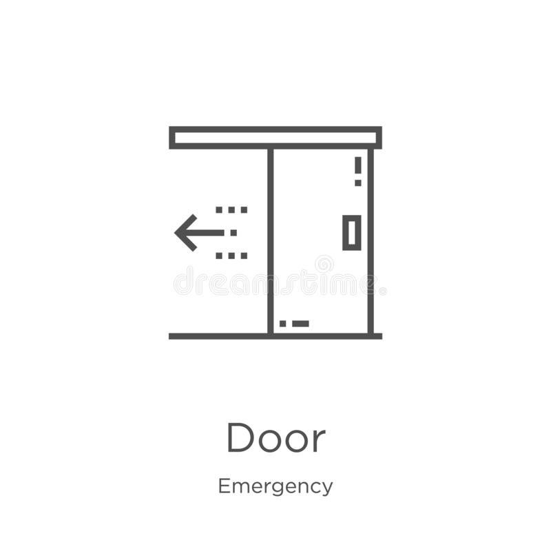 door icon vector from emergency collection. Thin line door outline icon vector illustration. Outline, thin line door icon for stock illustration