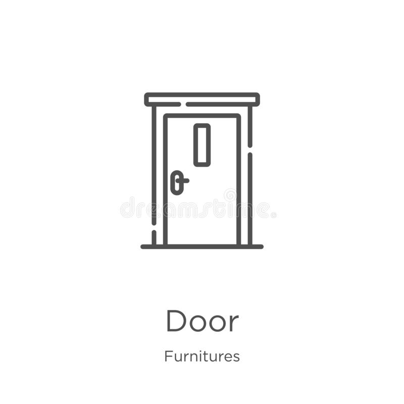 door icon vector from furnitures collection. Thin line door outline icon vector illustration. Outline, thin line door icon for vector illustration