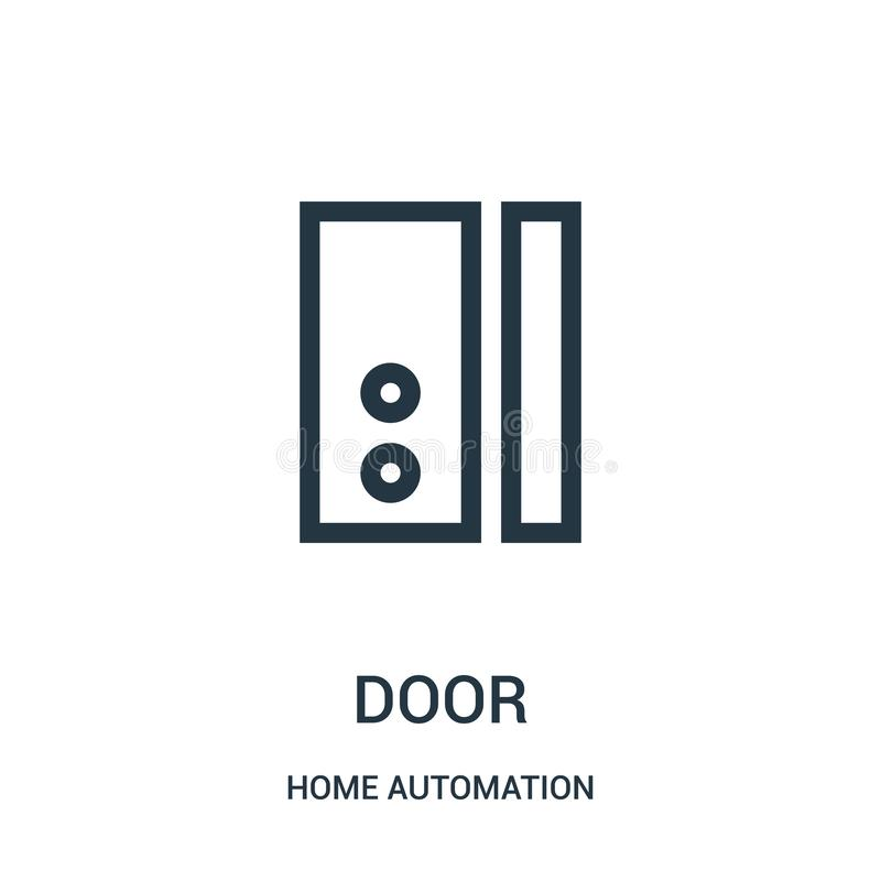 door icon vector from home automation collection. Thin line door outline icon vector illustration. Linear symbol vector illustration