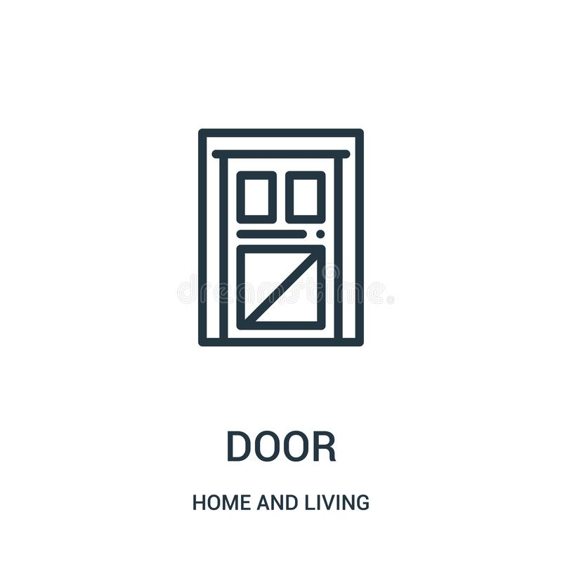 door icon vector from home and living collection. Thin line door outline icon vector illustration. Linear symbol for use on web vector illustration