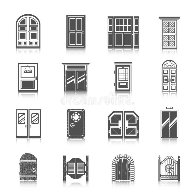 Door Icons Set vector illustration