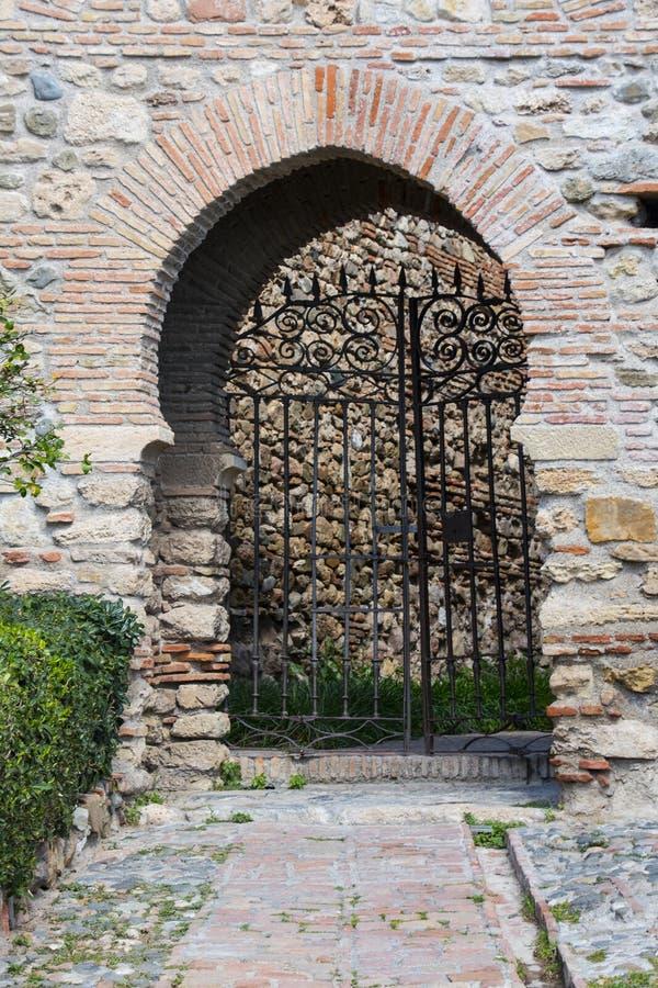 Door inside the Alcazaba of Merida, Spain royalty free stock photography