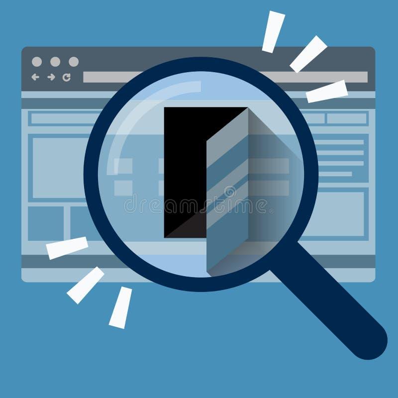 Door in internet browser. Data security concept. vector illustration