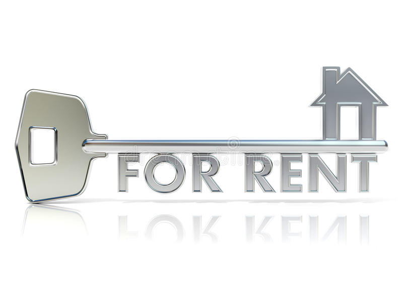 Door key FOR RENT sign. 3D render vector illustration