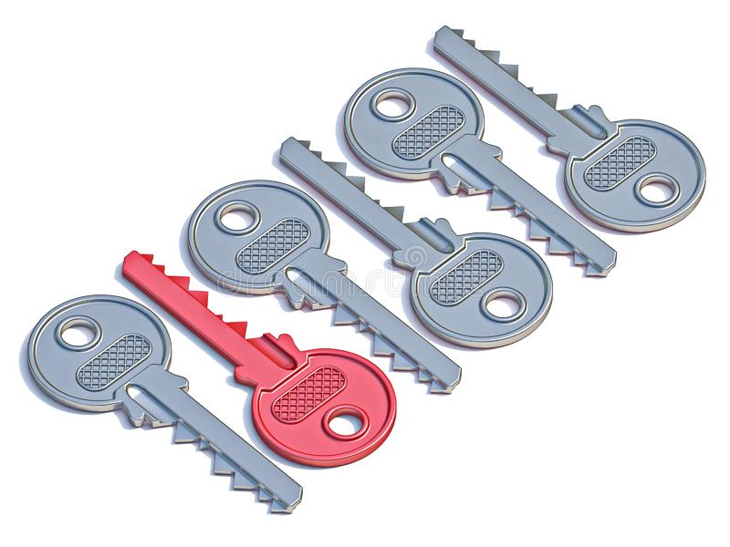 Door keys with red one 3D royalty free stock photography
