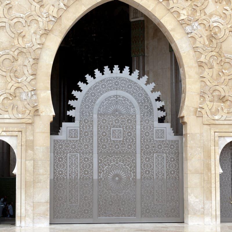 Door King Hassan II Mosque, Casablanca stock photos