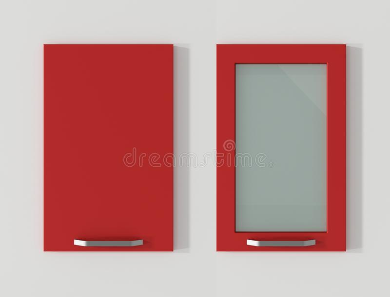 Door for kitchen cabinets flame red 3D rendering stock illustration